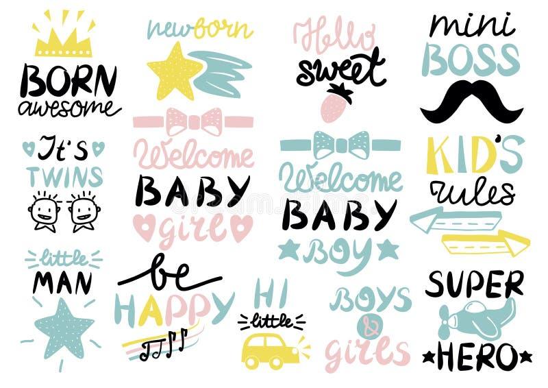 13 dzieci s logo z handwriting wspaniałym, Mile widziany dzieckiem Urodzonym, Żartuje reguły, dziewczyny i chłopiec, Byli szczęśl ilustracja wektor