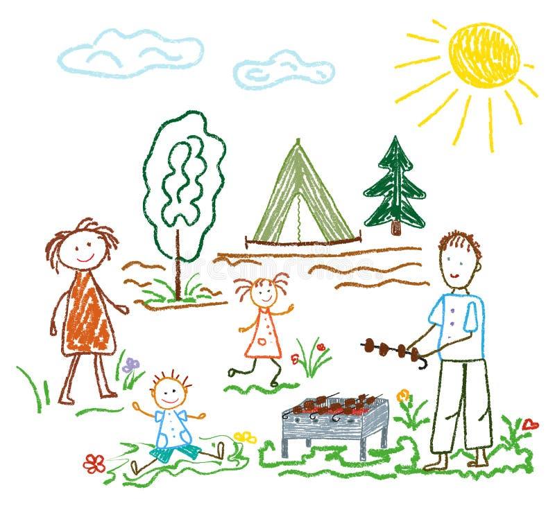 Dzieci s ołówkowy rysunek na temacie lato, przyjaźń, rodzina, camping, odtwarzanie, grille royalty ilustracja