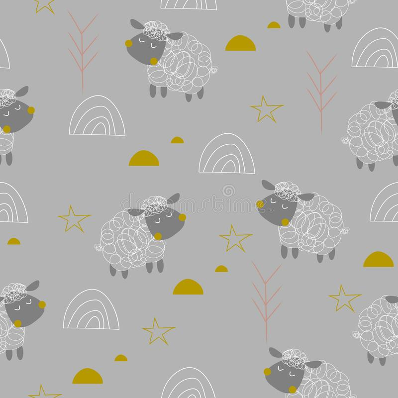 Dzieci sheeps bezszwowy wzór ilustracja wektor
