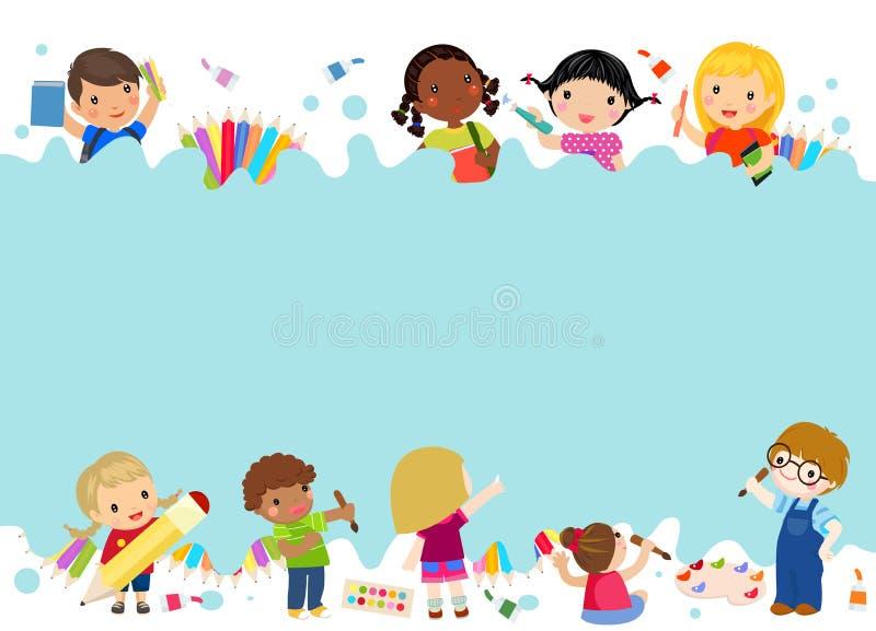 dzieci się malować royalty ilustracja