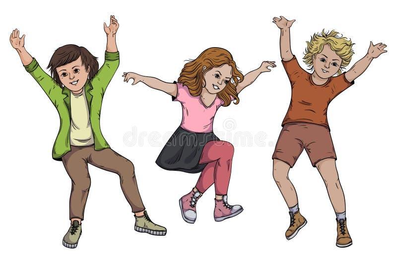 Dzieci skacze na białym tle royalty ilustracja