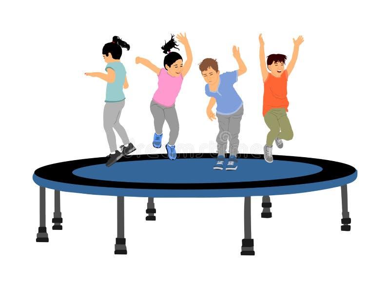 Dzieci skacze na ogrodowego trampoline wektorowych ilustracjach odizolowywać na bielu Radośni dzieciaki cieszy się i ono uśmiecha ilustracja wektor