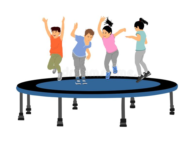 Dzieci skacze na ogrodowego trampoline wektorowych ilustracjach odizolowywać na bielu Radośni dzieciaki cieszy się i ono uśmiecha royalty ilustracja