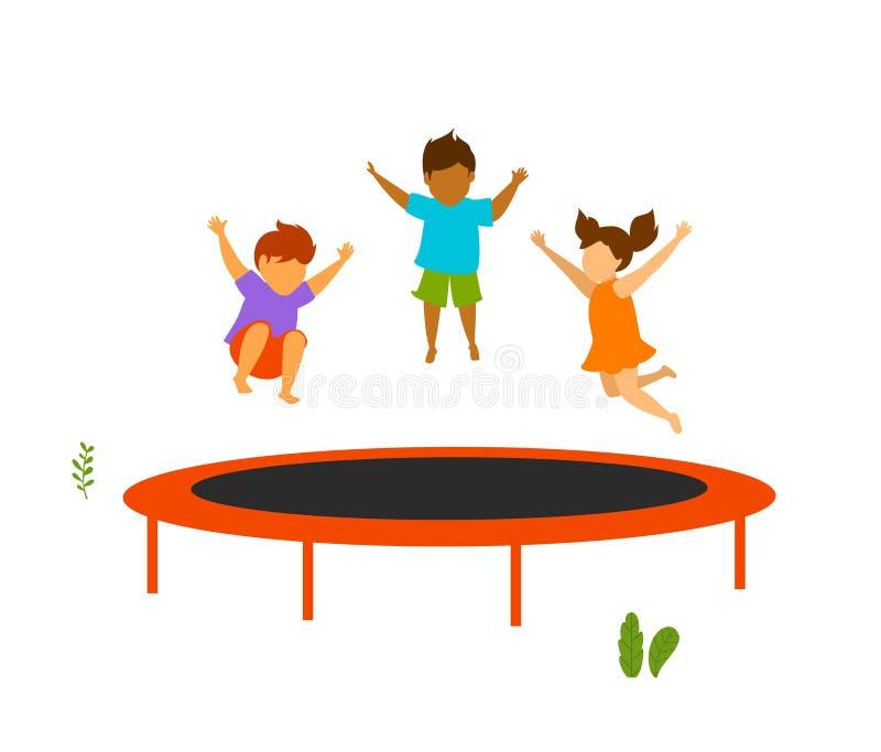 Dzieci skacze na plenerowym trampoline ilustracja wektor