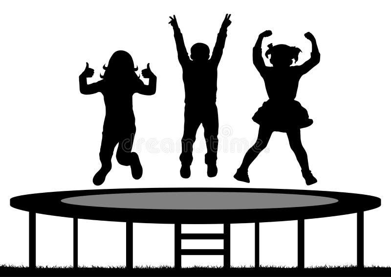 Dzieci skacze na trampoline, sylwetka, wektor royalty ilustracja