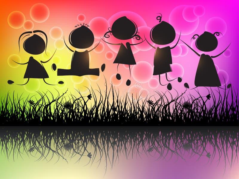 Dzieci skakać ilustracja wektor