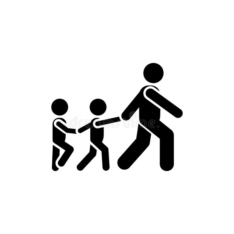 Dzieci, spacer, nauczyciel ikona Element dziecko piktogram Premii ilo?ci graficznego projekta ikona znaki i symbole inkasowi ilustracji