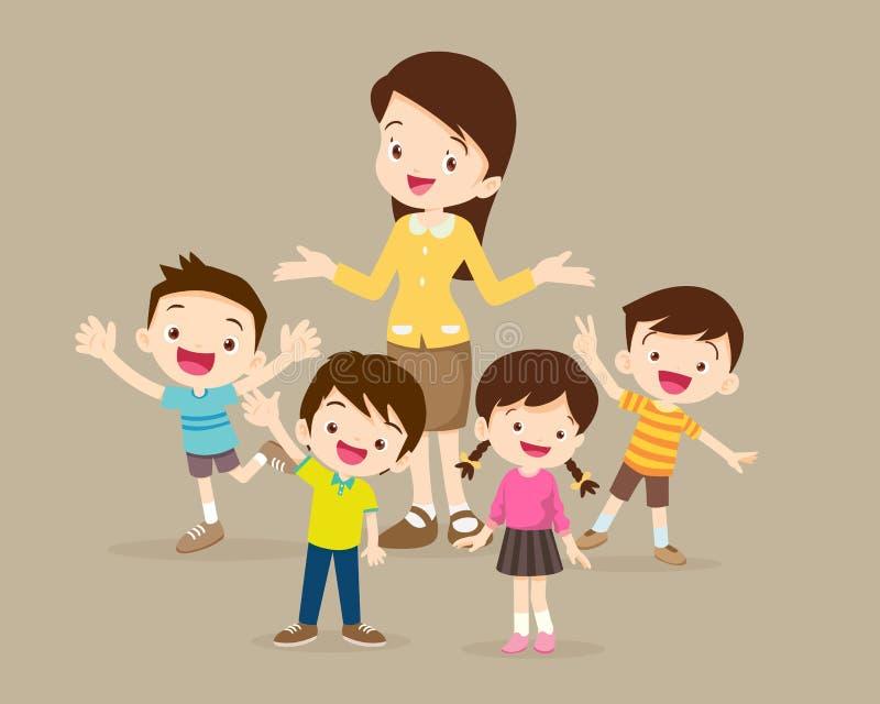 Dzieci statywowi wokoło teacherTeacher i dzieciaków Dzieci statywowi wokoło nauczyciela royalty ilustracja