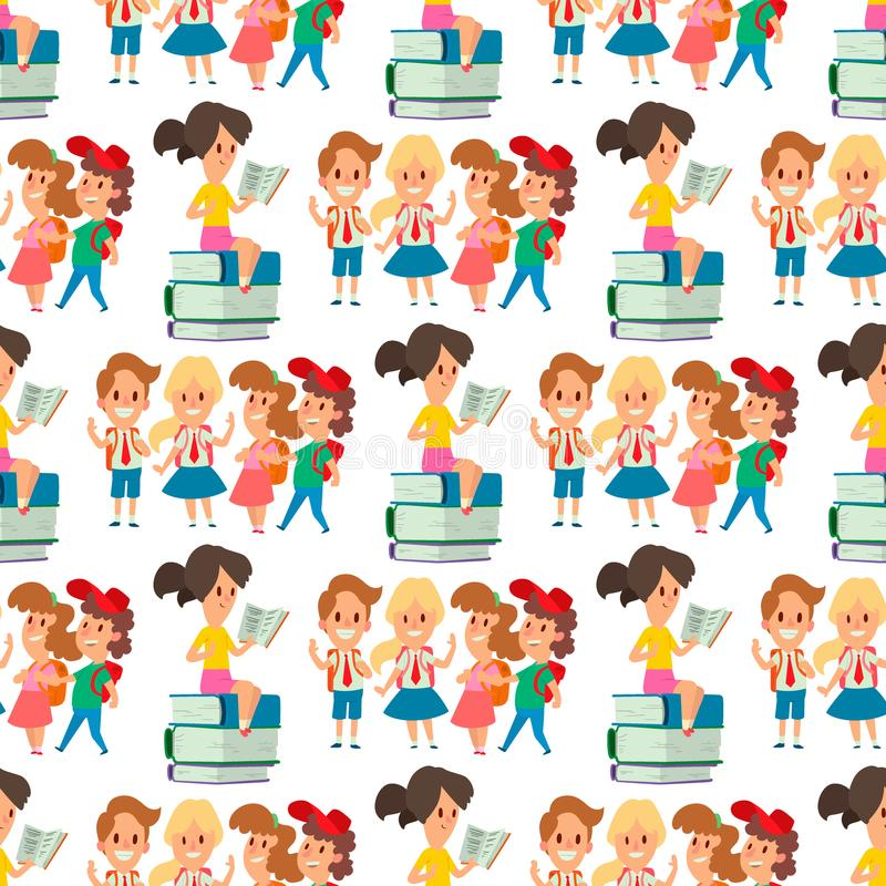 Dzieci studiuje szkolnych dzieciaków nauki dzieciństwa wykształcenia podstawowego szczęśliwego charakteru iść wektorowego bezszwo royalty ilustracja