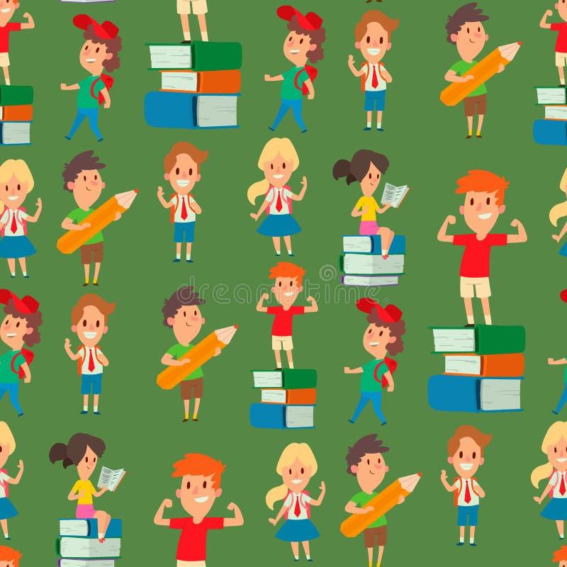 Dzieci studiuje szkolnych dzieciaków nauki dzieciństwa wykształcenia podstawowego szczęśliwego charakteru iść wektorowego bezszwo ilustracja wektor