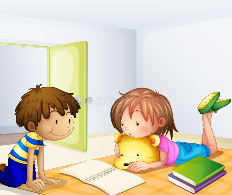 Dzieci studiuje w pokoju ilustracja wektor