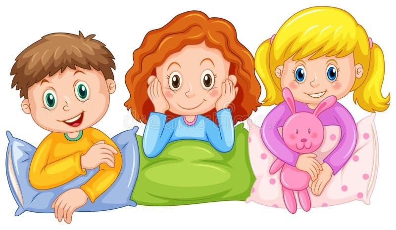 Dzieci szczęśliwi przy sen przyjęciem ilustracja wektor