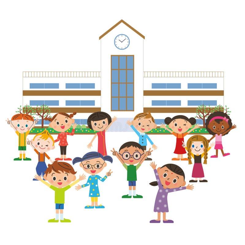 dzieci to malowali zdjęcie szkoły akwarele royalty ilustracja