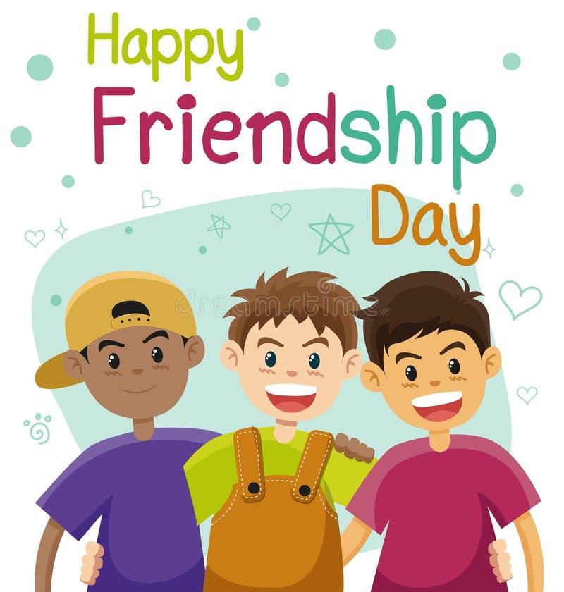 Dzieci, trzy najlepszego przyjaciela Przyjaźni mieszkania wektor ilustracji