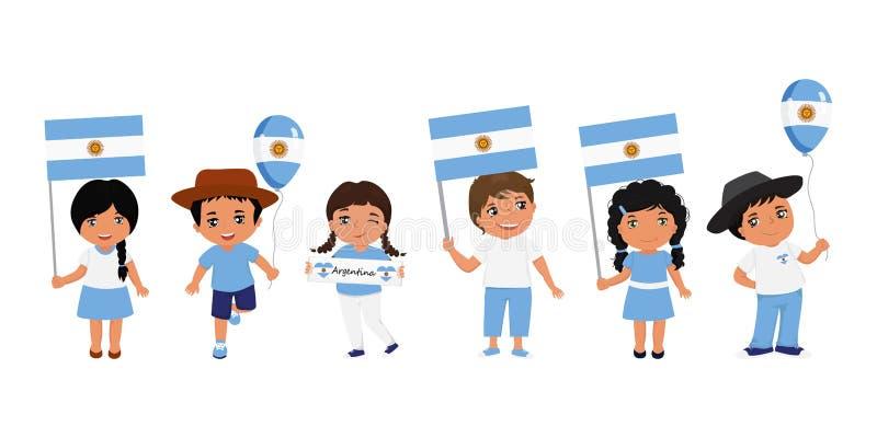 Dzieci trzyma argentyńczyk flagę r?wnie? zwr?ci? corel ilustracji wektora nowo?ytny projekta szablon royalty ilustracja