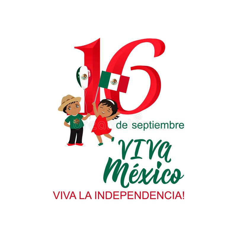 Dzieci trzyma Meksyk flaga Meksykański przekład: 16 th Wrzesień Szczęśliwy dzień niepodległości Viva Meksyk ilustracja wektor