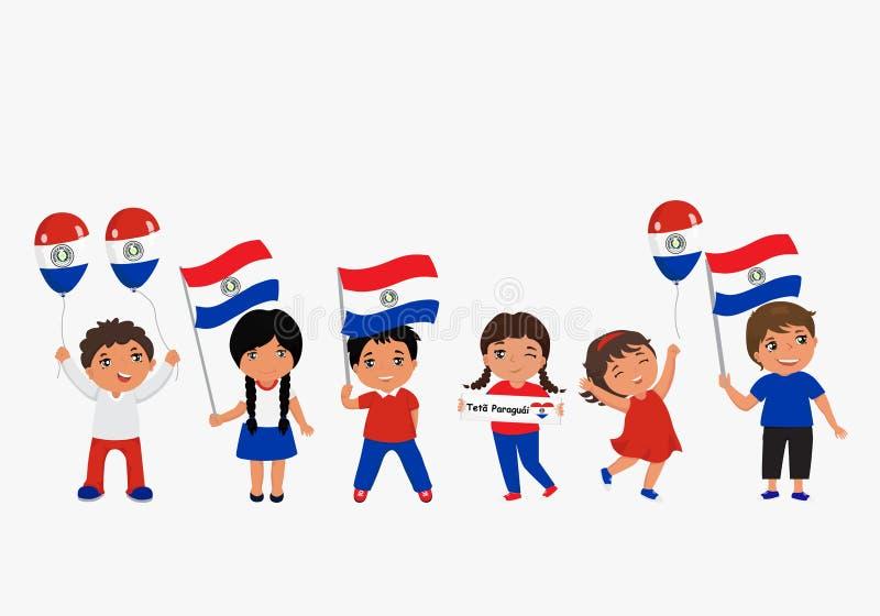 Dzieci trzyma Paraguay flagi r?wnie? zwr?ci? corel ilustracji wektora nowo?ytny projekta szablon ilustracji