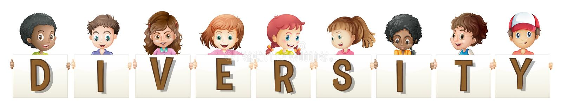 Dzieci trzyma słowo dla różnorodności royalty ilustracja