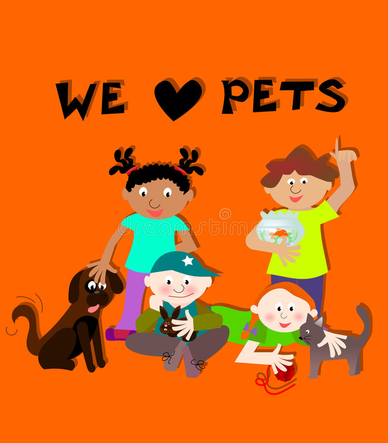 Dzieci trzyma zwierzęta domowe ilustracji