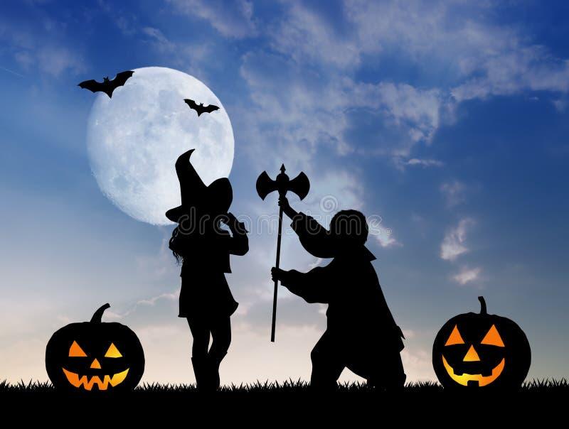 dzieci ubierali Halloween ilustracja wektor