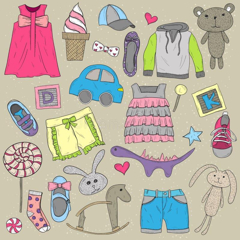 Dzieci ubrania i zabawka projekta elementy ustawiający ilustracji