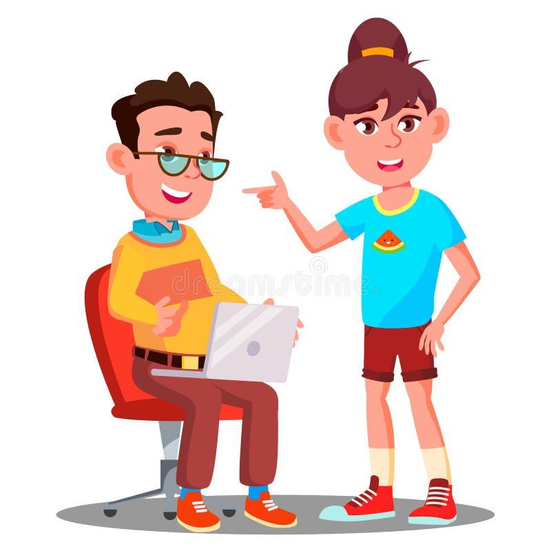 Dzieci Uczą się Nowożytnego technologia wektor button ręce s push odizolowana początku ilustracyjna kobieta ilustracji