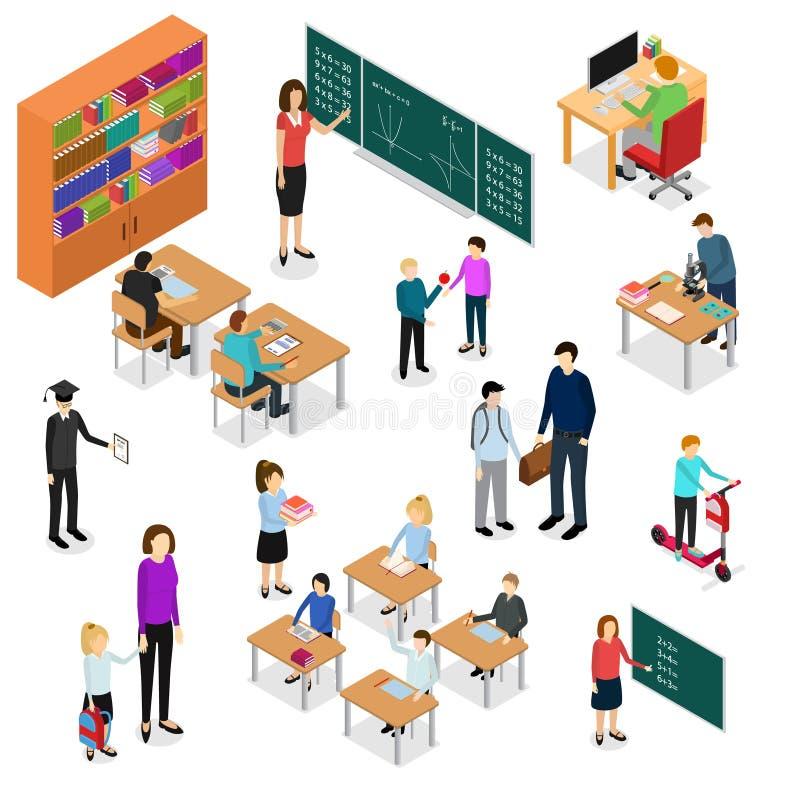 Dzieci ucznie i nauczyciela edukaci pojęcia 3d Isometric widok wektor ilustracji