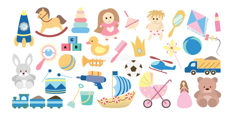 dzieci ustawiać zabawki ilustracja wektor