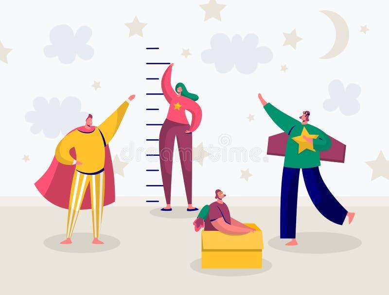 Dzieci w bohater Kostiumowej sztuce Mierzą przyrosta Szczęśliwy dzieciaka charakter Ma zabawę w dziecko pokoju Płaska kreskówka royalty ilustracja