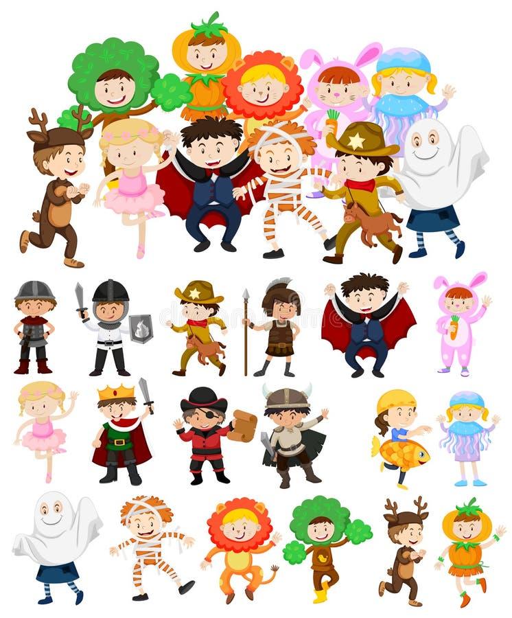 Dzieci w Halloweenowych kostiumach royalty ilustracja