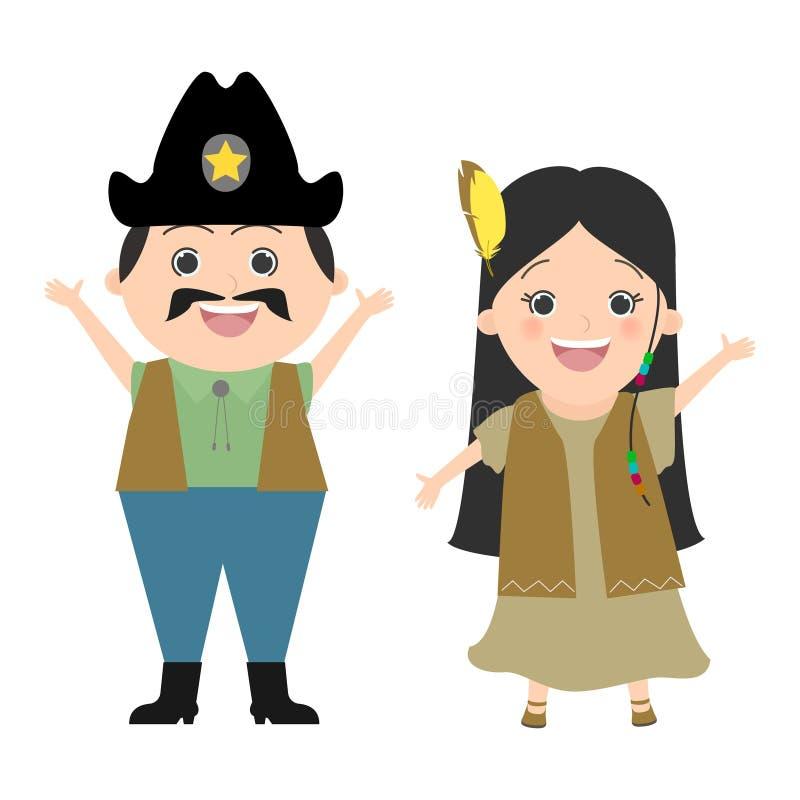 Dzieci w karnawałowych kostiumach Dziki zachód, kowboje i indianie, Wektorowa kreskówka royalty ilustracja