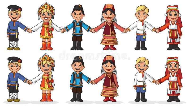 Dzieci w krajowych kostiumu chwyta rękach ilustracji