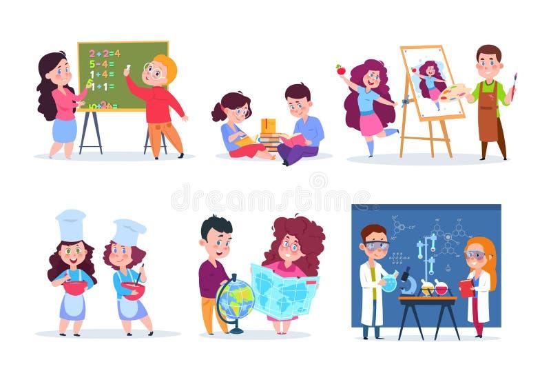 Dzieci w lekcjach Szkoła żartuje geografię, chemię i matematykę studiowania, Chłopiec, dziewczyny, remis i kucharz kreskówka czyt ilustracja wektor