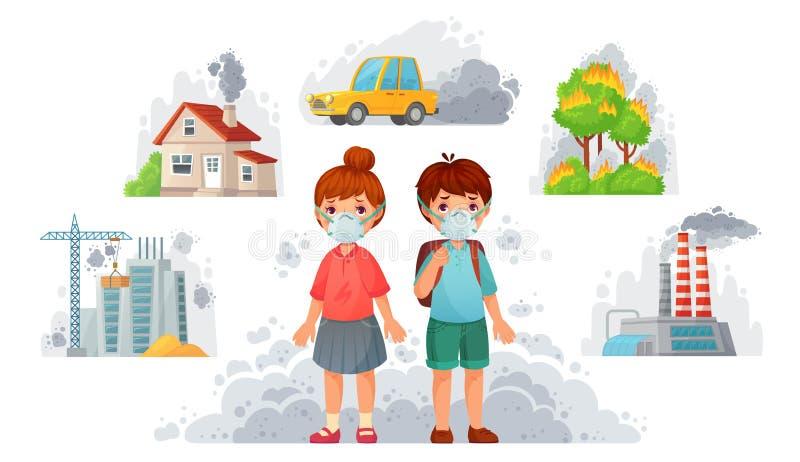 Dzieci w N95 maskach Brudna środowisko ochrona, twarzy maski gacenie od ulica dymu i PM2, 5 wektor?w ilustracja ilustracji