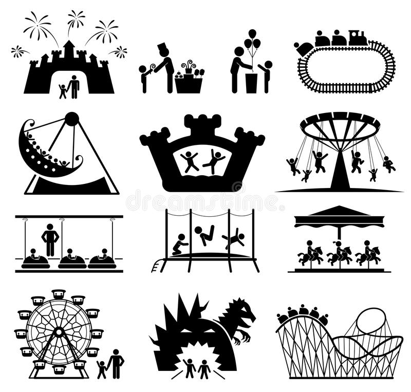 Dzieci w parku rozrywki Piktogram ikony set również zwrócić corel ilustracji wektora ilustracja wektor