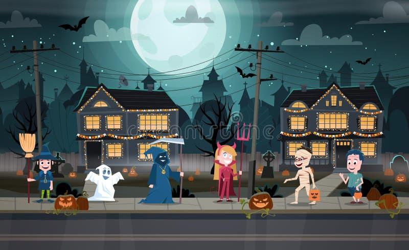 Dzieci w potworów kostiumach ilustracja wektor