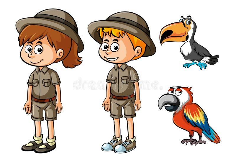 Dzieci w safari ubraniach i dwa ptakach royalty ilustracja