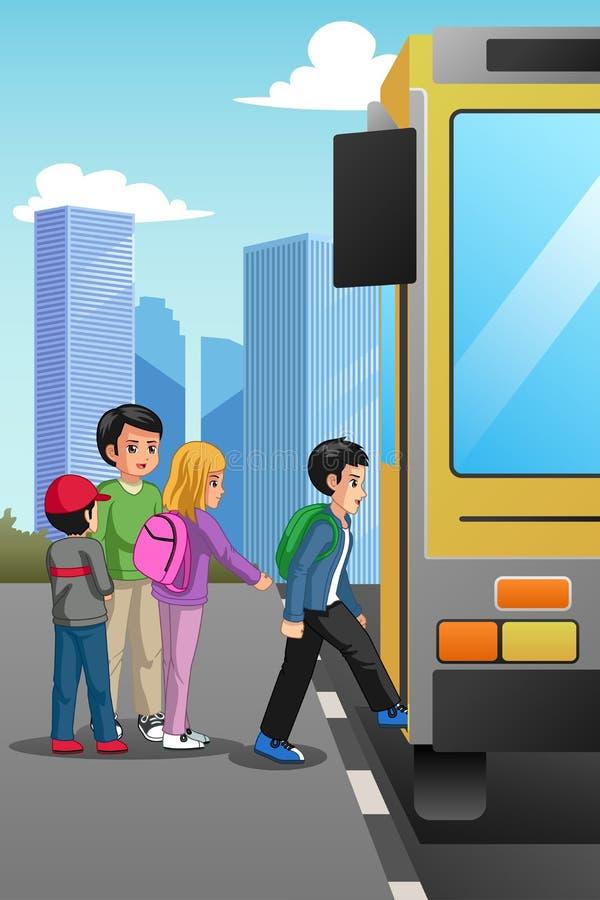 Dzieci W Wieku Szkolnym przy autobusem szkolnym Zatrzymują ilustrację ilustracja wektor