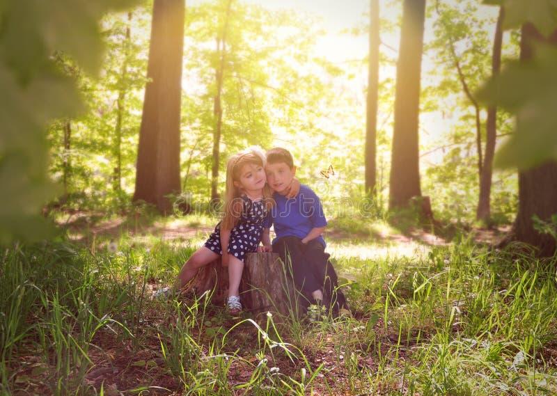 Dzieci w Zielonych Pogodnych natur drewnach obraz stock