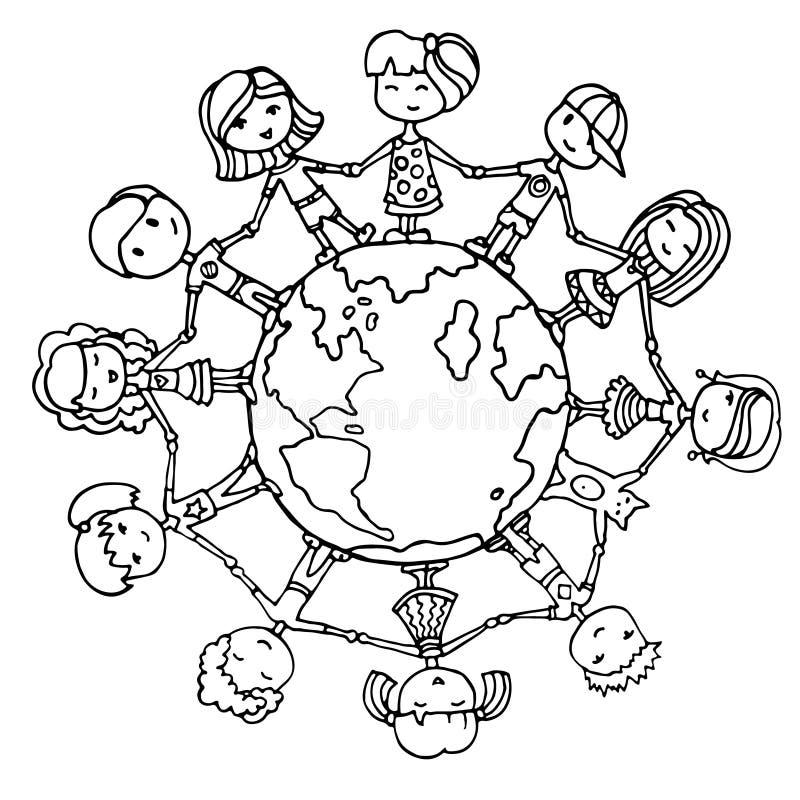 dzieci wokół światowych ilustracji