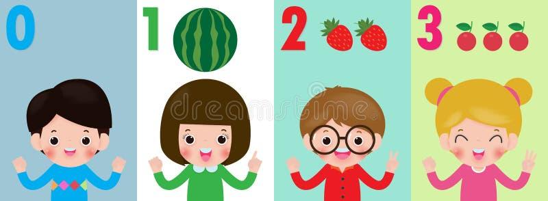 Dzieci wręczają pokazywać liczbie zero jeden dwa trzy, dzieciaki pokazuje liczbom (0) 1 2 3 palcami Edukacji pojęcie, dzieciaków  royalty ilustracja