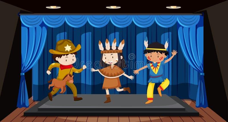 Dzieci wykonuje na scenie royalty ilustracja