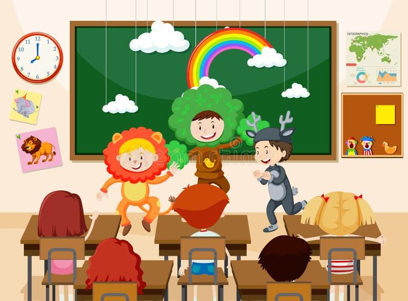 Dzieci wykonuje przed klasą ilustracji