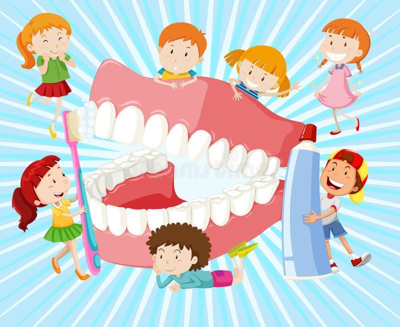 Dzieci z czystymi zębami ilustracja wektor