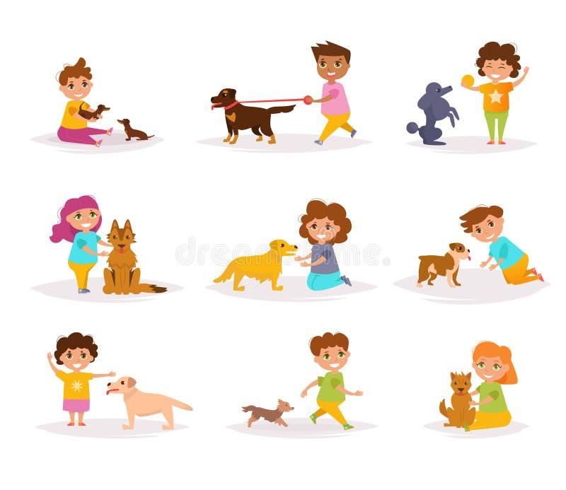 Dzieci z różnymi trakenami psy royalty ilustracja