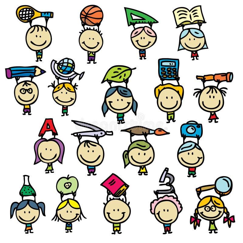 Dzieci z szkolnymi narzędziami ilustracja wektor