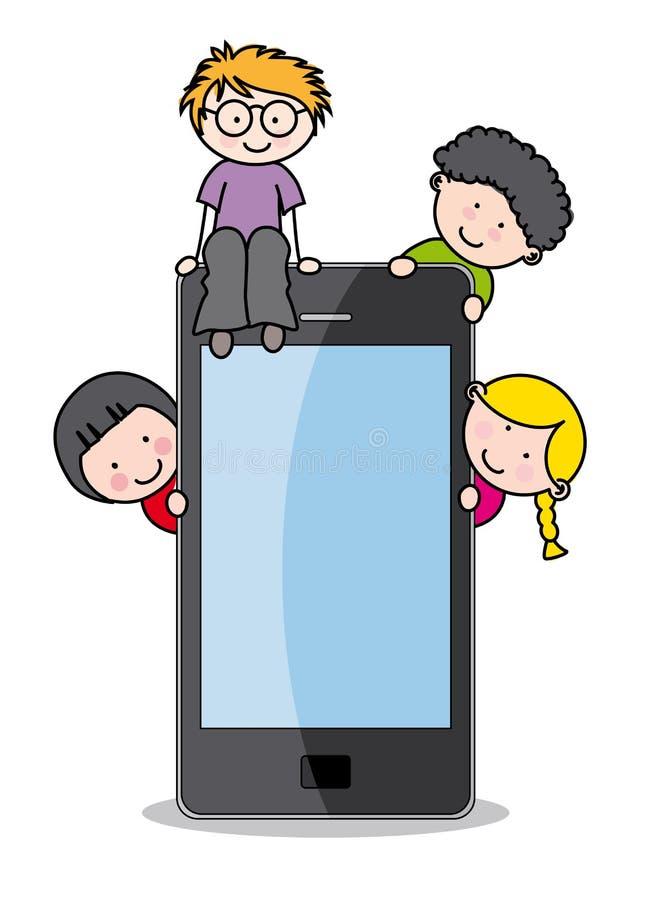 Dzieci z telefon komórkowy ilustracji