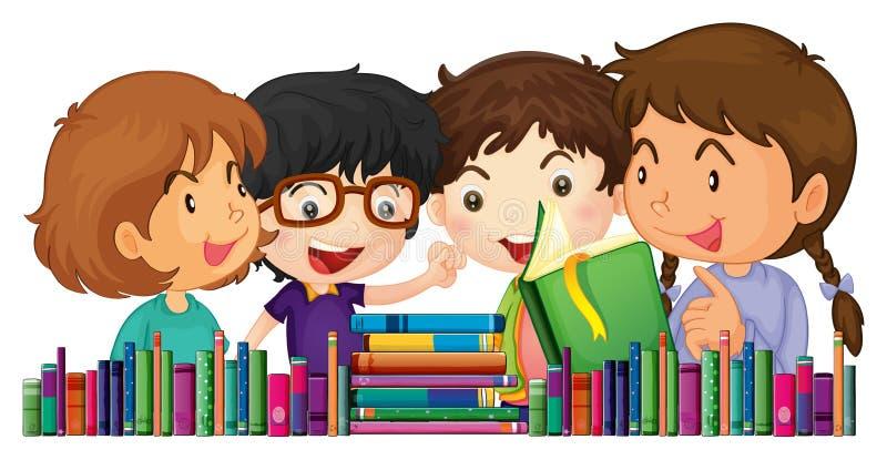 Dzieci z wiele książkami ilustracja wektor