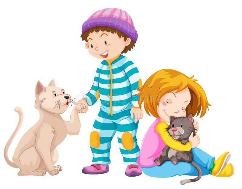 Dzieci z zwierzę domowe kotami ilustracji