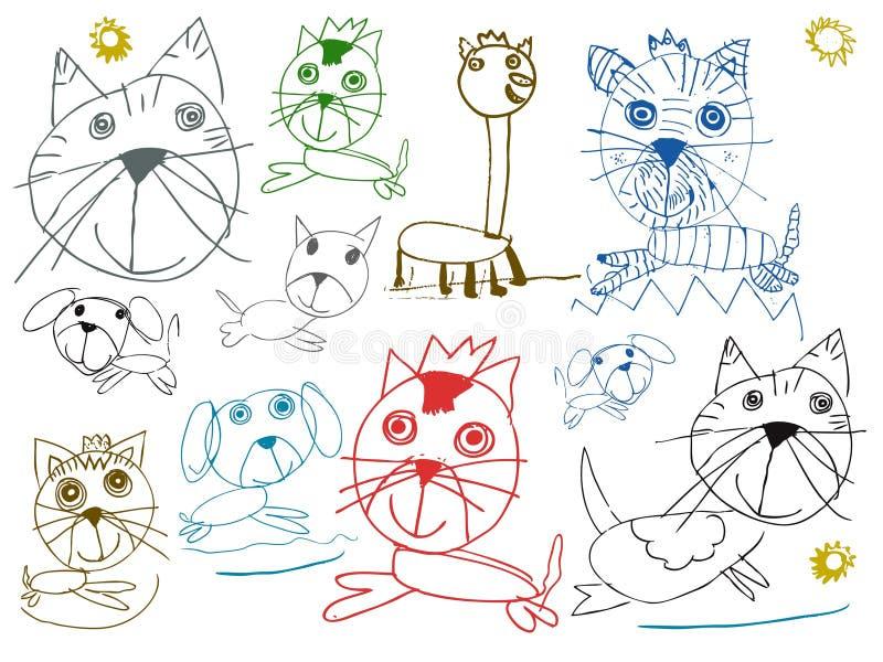 Dzieci zwierząt domowych rysunki odizolowywający na bielu ilustracji